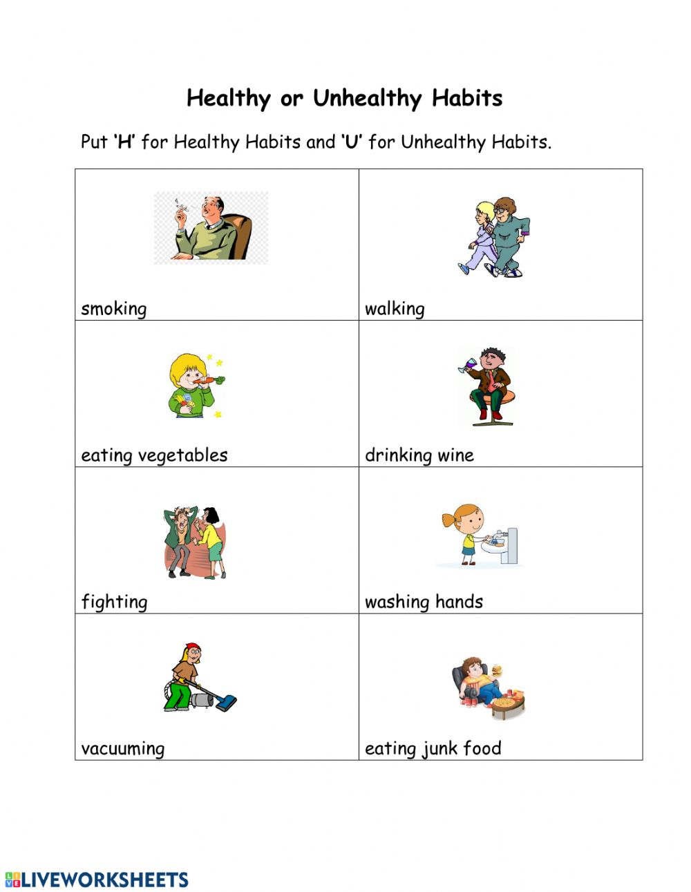 hight resolution of Healthy and Unhealthy Habits interactive worksheet