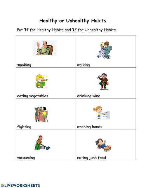 small resolution of Healthy and Unhealthy Habits interactive worksheet