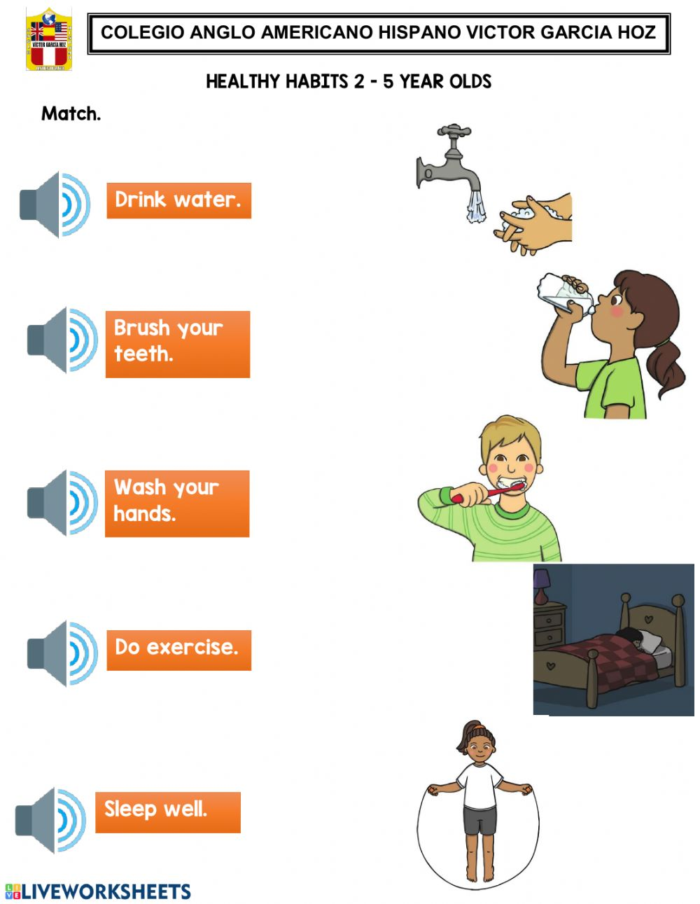 hight resolution of Healthy Habits 2 - 5 year olds worksheet