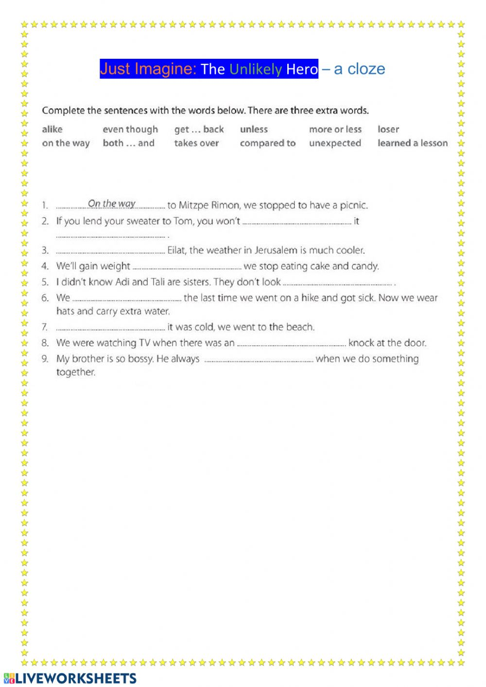 hight resolution of The Unlikely Hero cloze worksheet