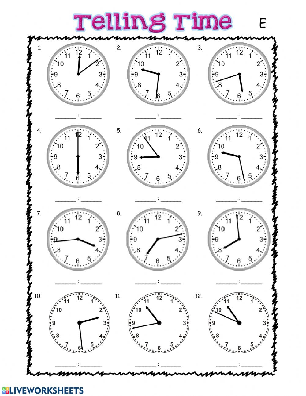 medium resolution of Telling Time interactive exercise for grade 3
