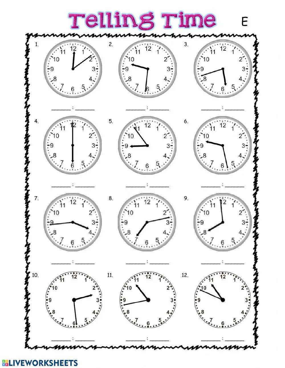 hight resolution of Telling Time interactive exercise for grade 3