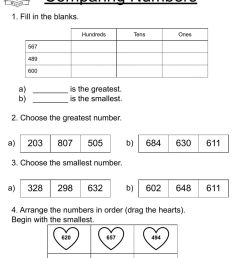 Comparing numbers - Second Grade worksheet [ 1287 x 1000 Pixel ]