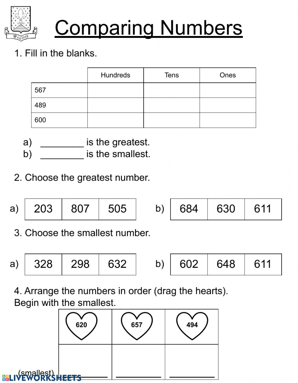 hight resolution of Comparing numbers - Second Grade worksheet