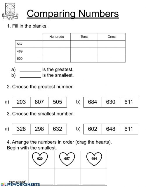 small resolution of Comparing numbers - Second Grade worksheet