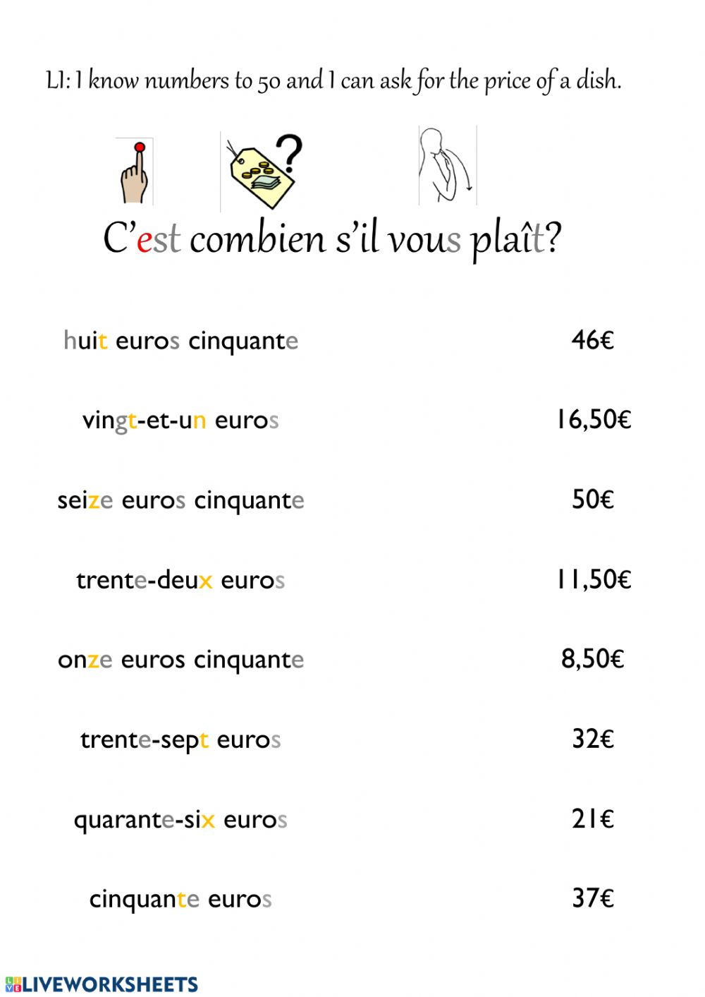 hight resolution of French numbers to 50 worksheet