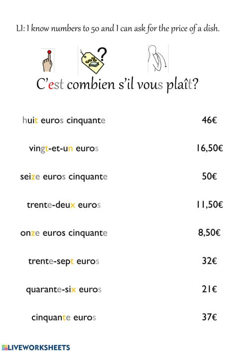 small resolution of French numbers to 50 worksheet