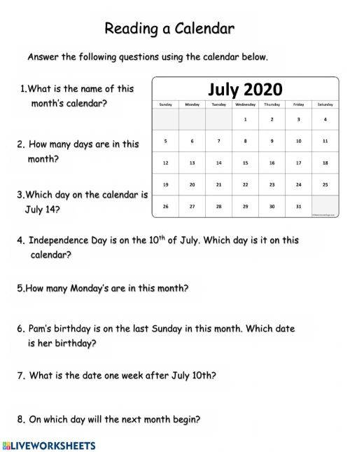 small resolution of Reading a Calendar worksheet