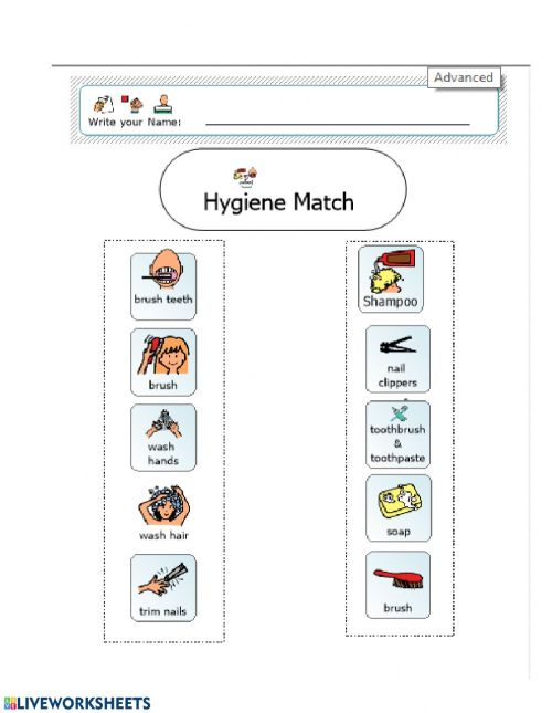 small resolution of Hygiene Match worksheet