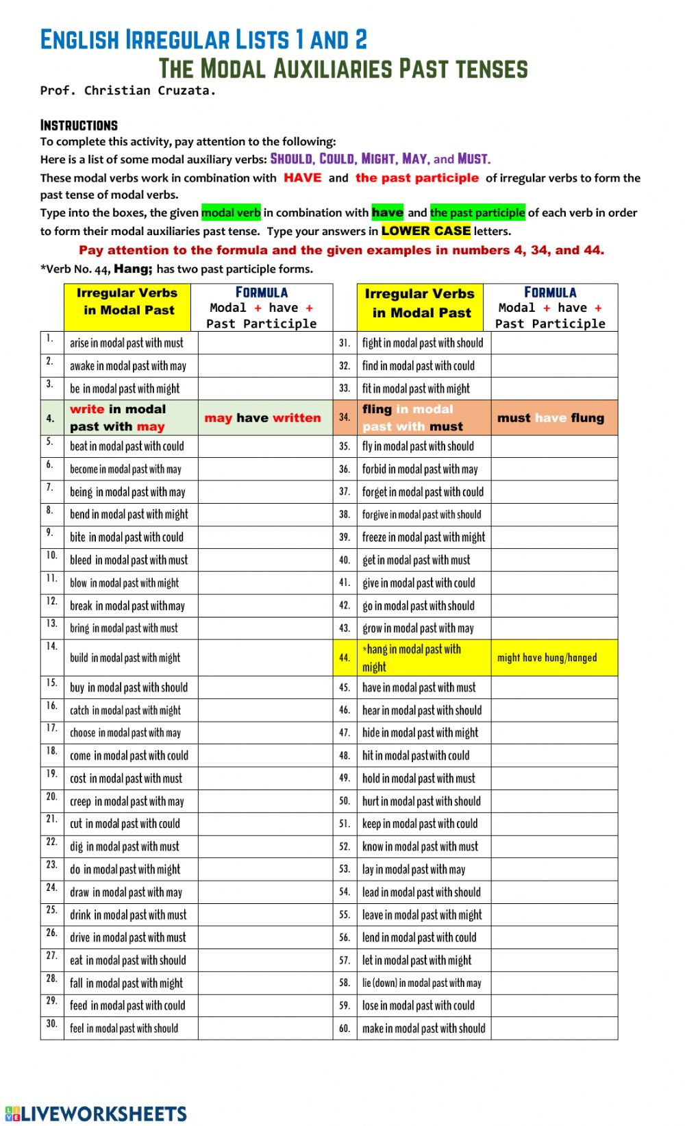hight resolution of Past Tense of Modal Auxiliary Verbs worksheet
