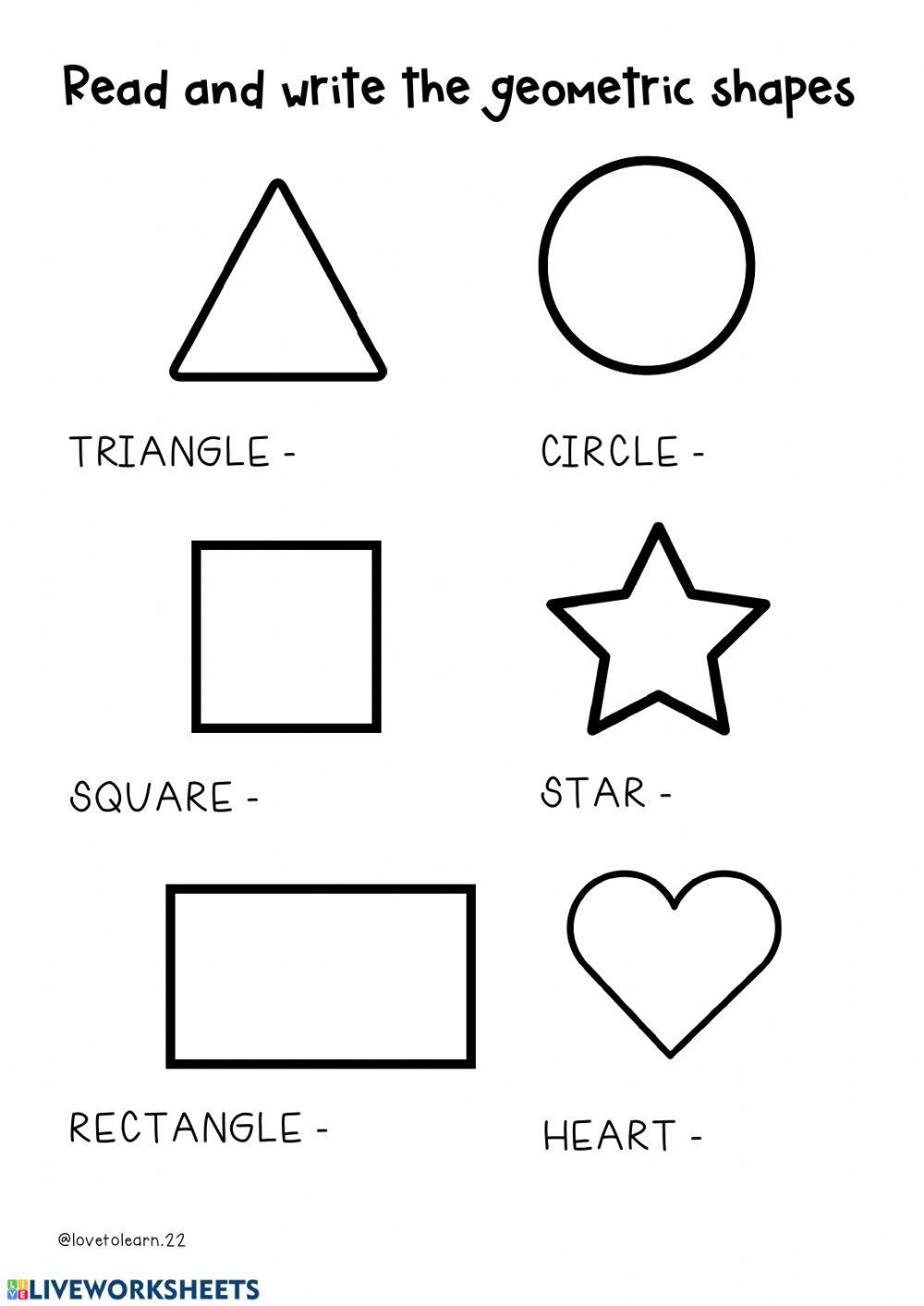 hight resolution of Geometric shapes interactive worksheet
