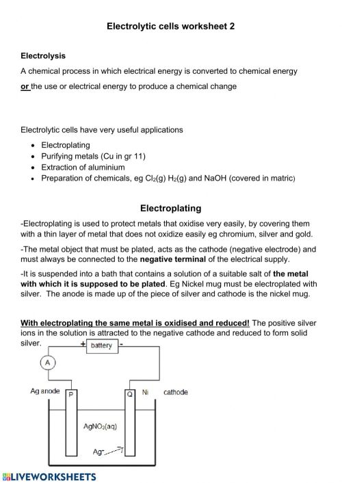 small resolution of Electrolytic cell worksheet 2 worksheet