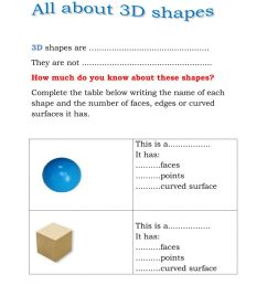 3D Shapes worksheet [ 1291 x 1000 Pixel ]