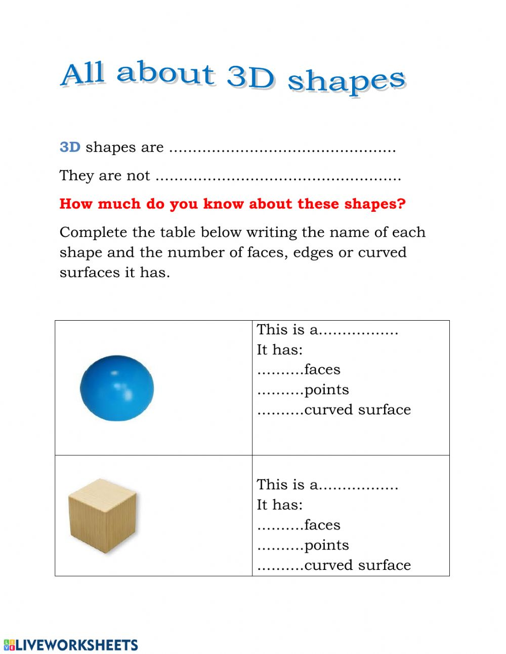 hight resolution of 3D Shapes worksheet