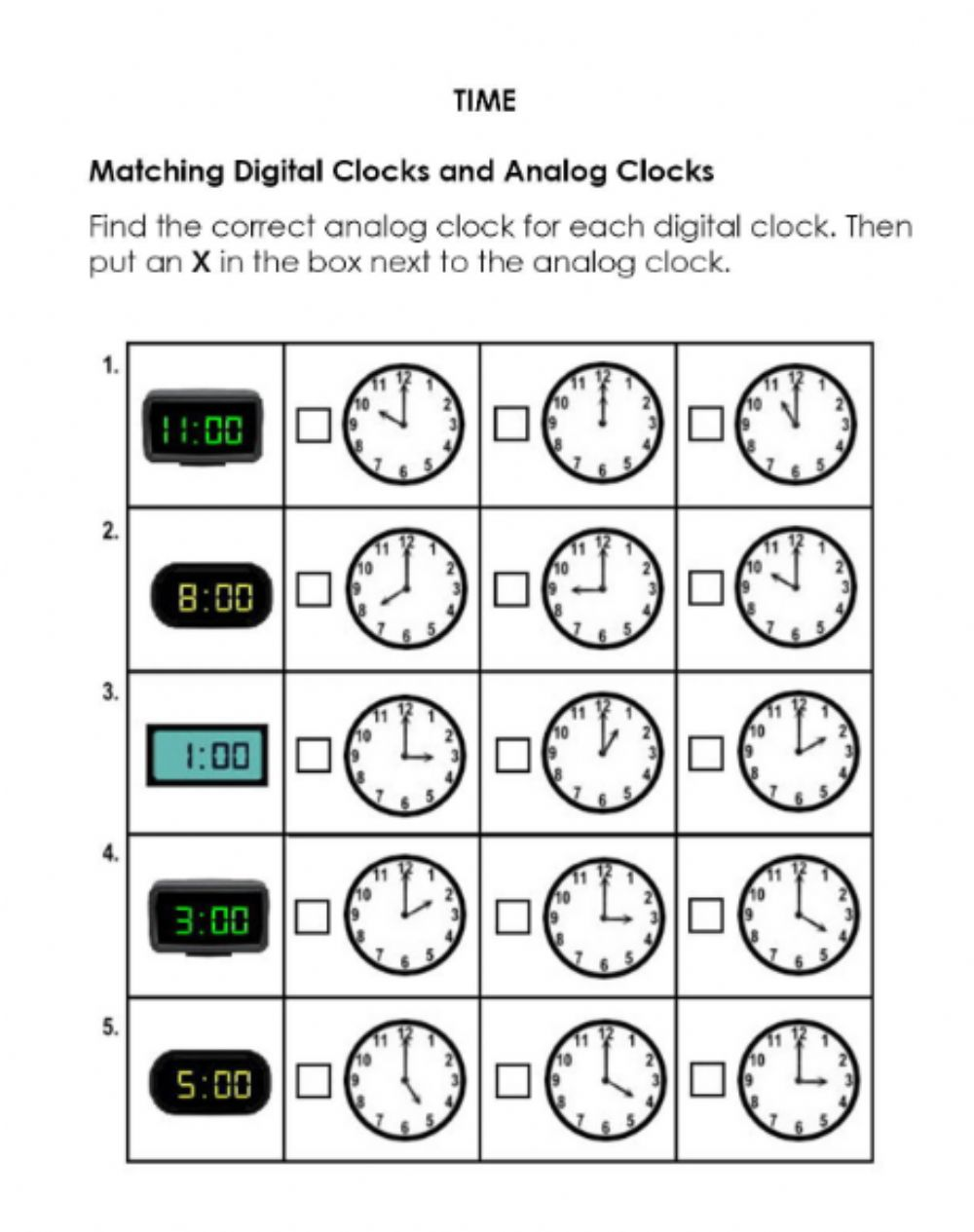 hight resolution of Match Digital and Analog Clocks worksheet
