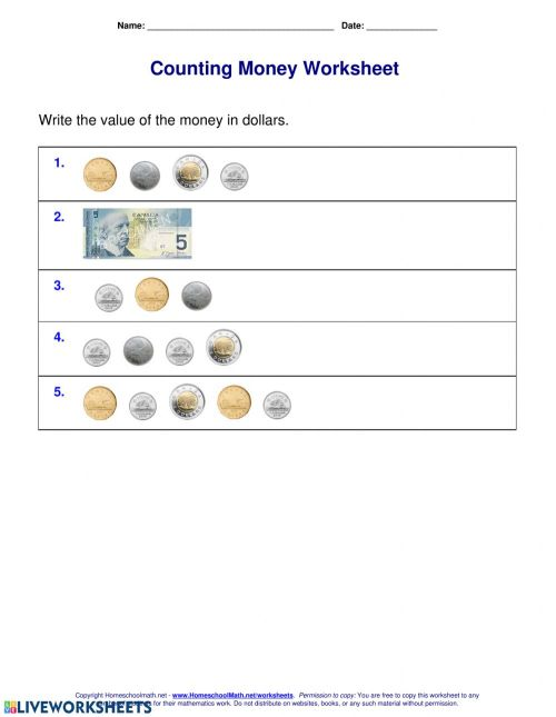 small resolution of Canadian Money worksheet