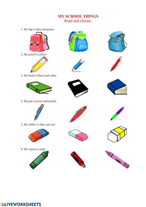 small resolution of My school things interactive worksheet