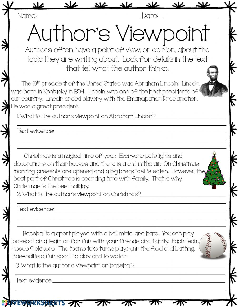 medium resolution of Author's Viewpoint worksheet