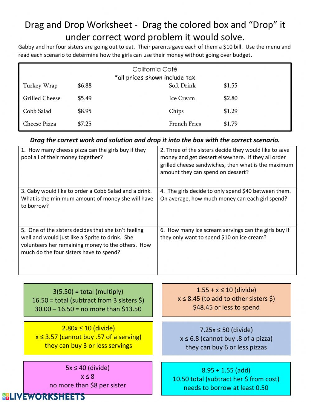hight resolution of Drag and Drop Inequality Word Problems worksheet