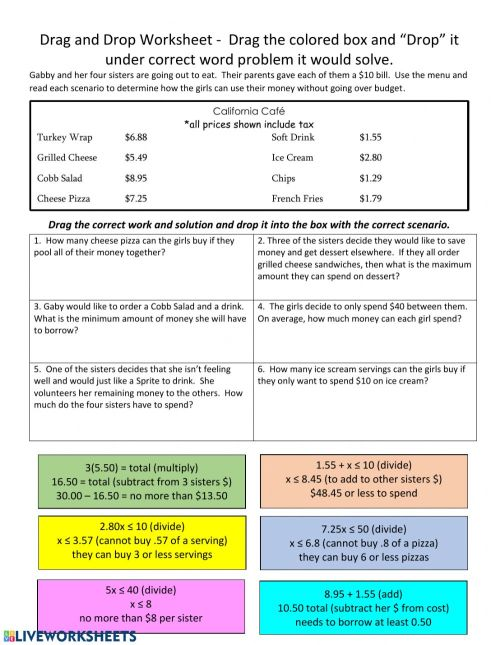 small resolution of Drag and Drop Inequality Word Problems worksheet