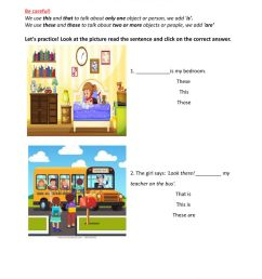 Demonstrative pronouns online worksheet for 4th [ 1413 x 1000 Pixel ]