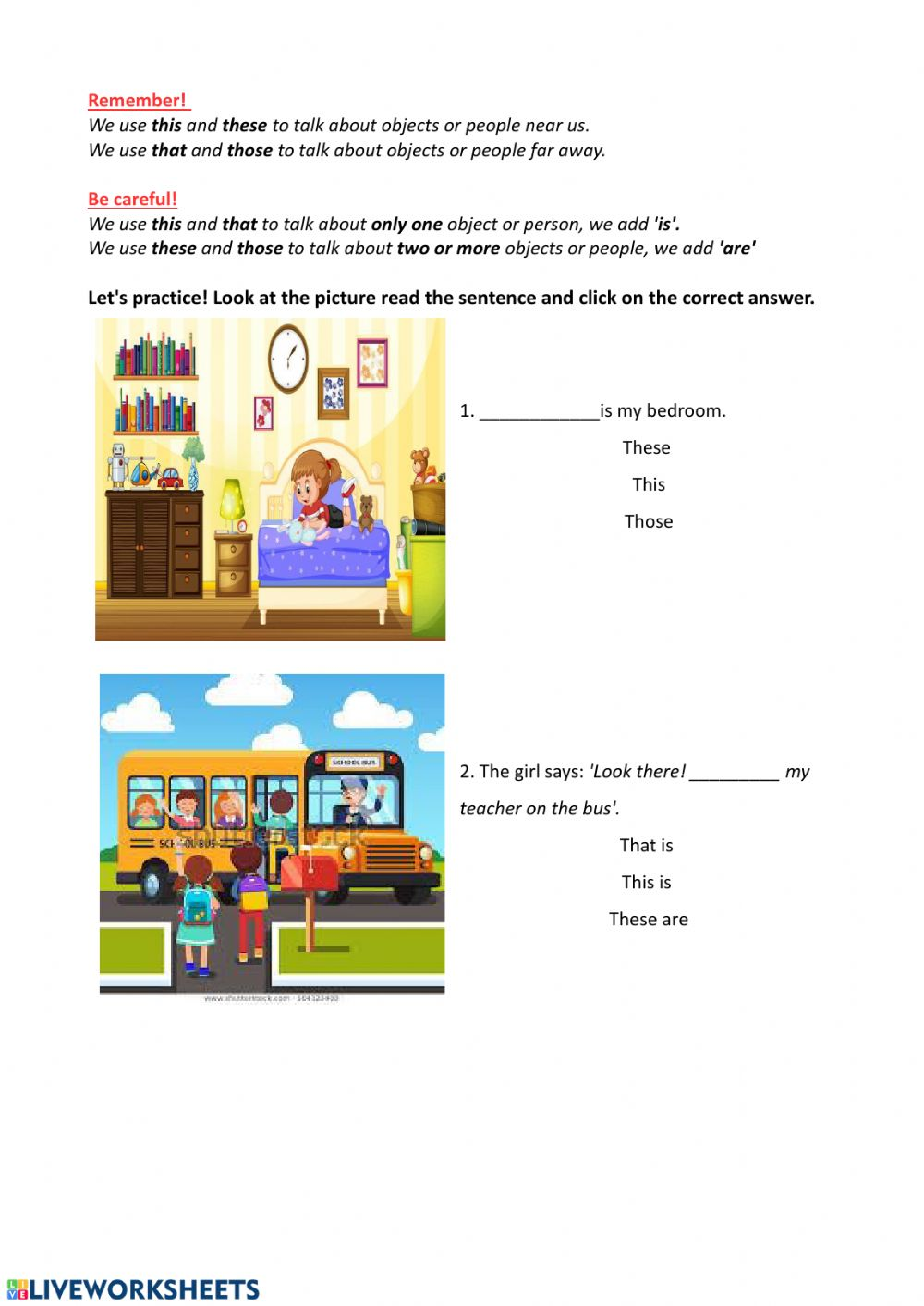 medium resolution of Demonstrative pronouns online worksheet for 4th