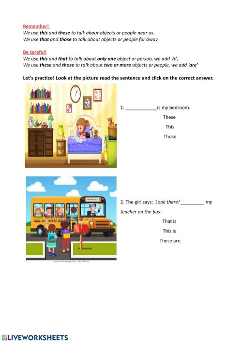 small resolution of Demonstrative pronouns online worksheet for 4th