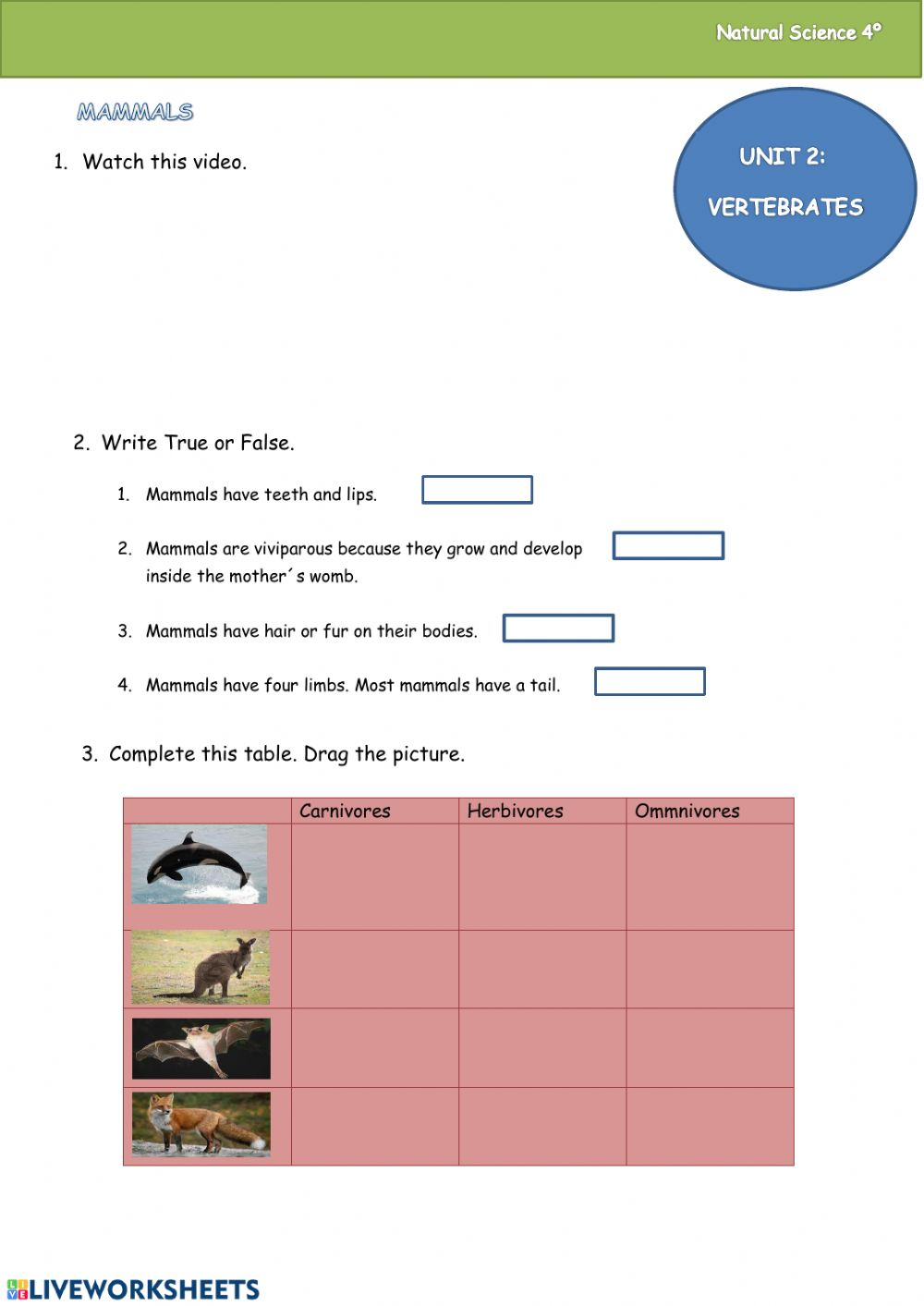 hight resolution of Mammals online worksheet