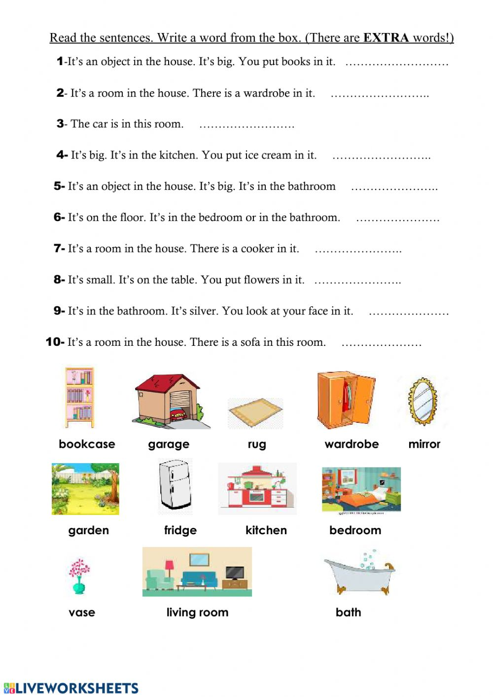 hight resolution of Objects in the house exercise for grade:2