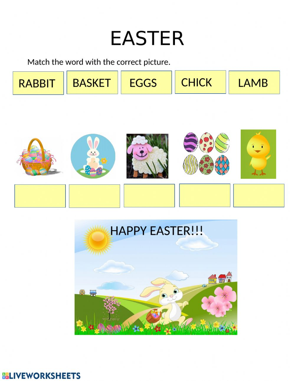 hight resolution of Easter vocabulary interactive activity