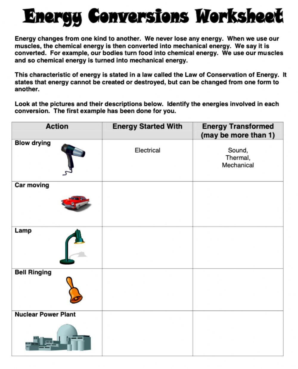 hight resolution of Energy conversions worksheet