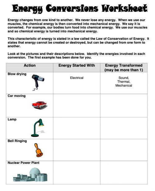 small resolution of Energy conversions worksheet