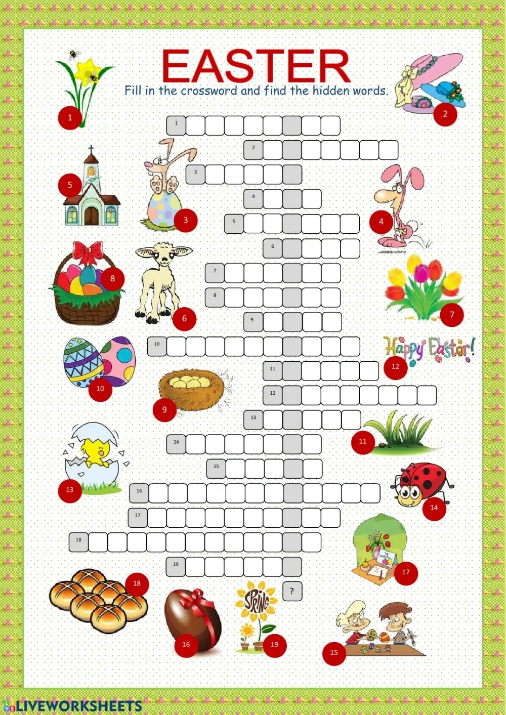 hight resolution of Easter crossword interactive worksheet