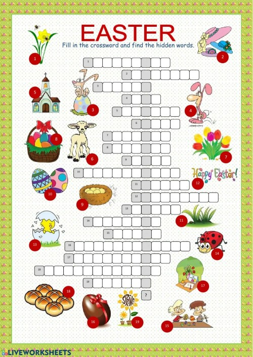 small resolution of Easter crossword interactive worksheet