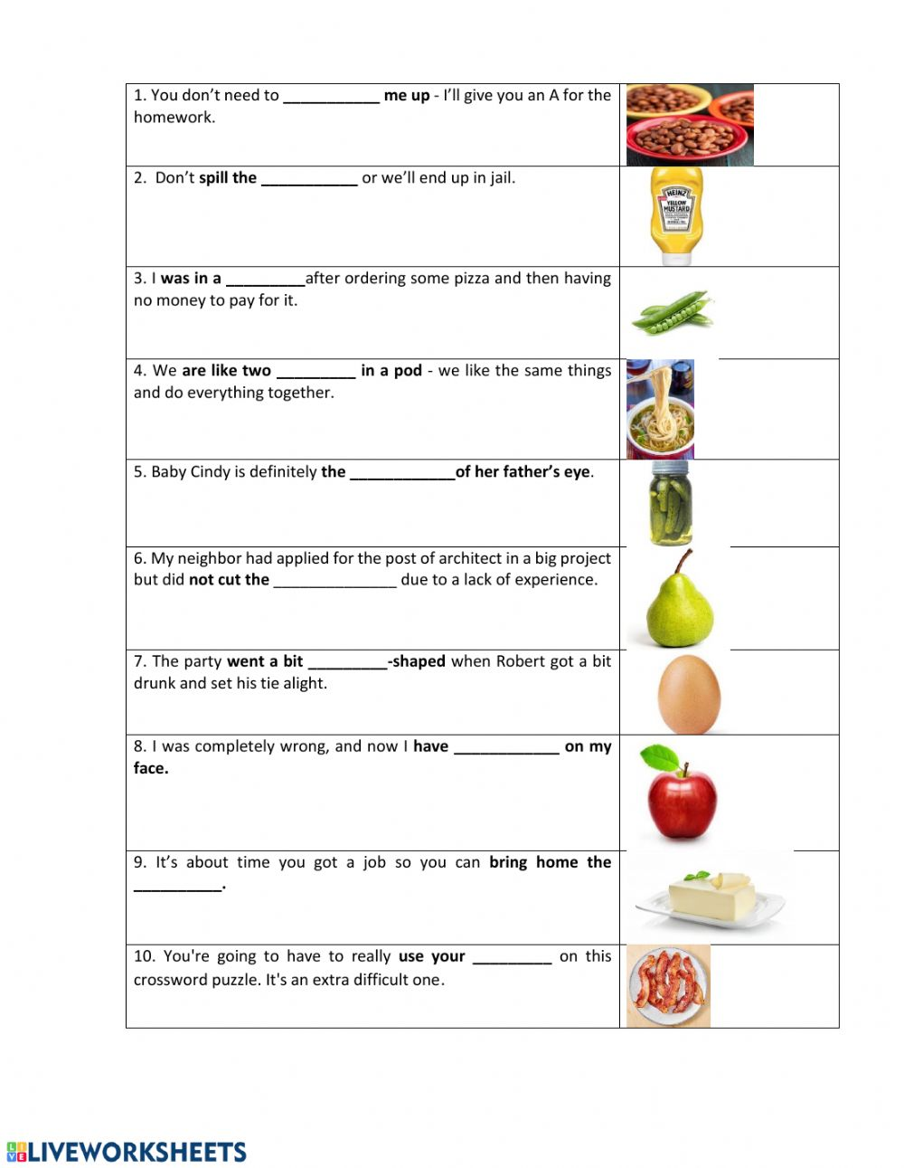 hight resolution of Food idioms worksheet