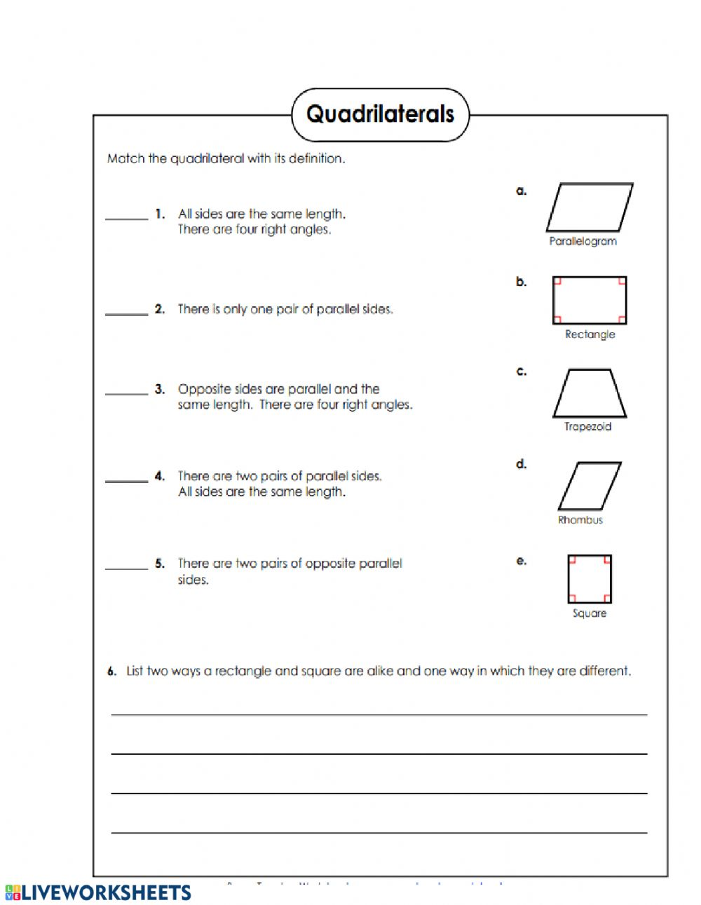 hight resolution of Quadrilaterals worksheet