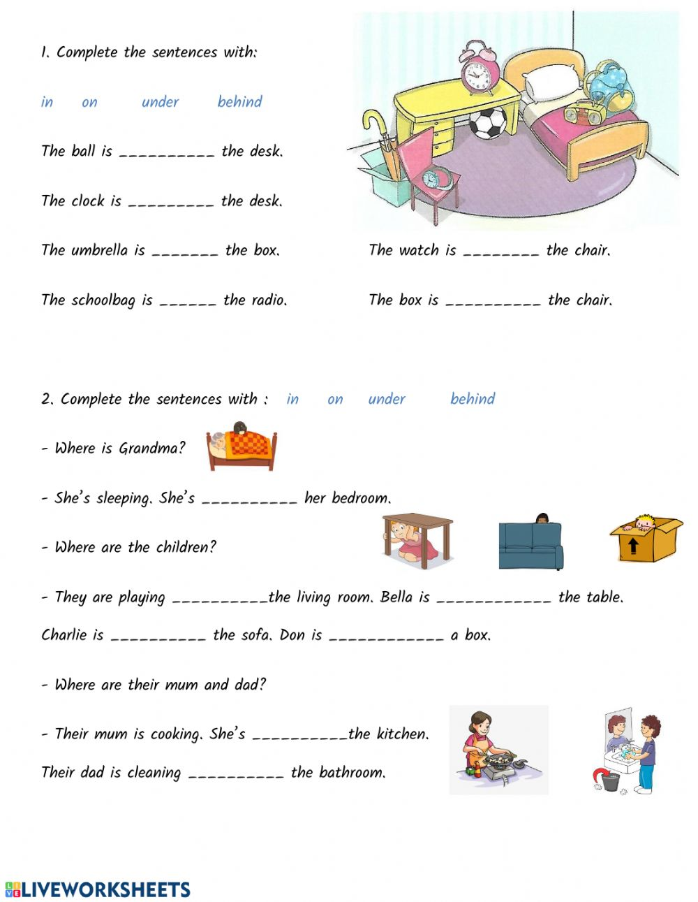 Prepositions of Place exercise for Beginner(pre-A1)
