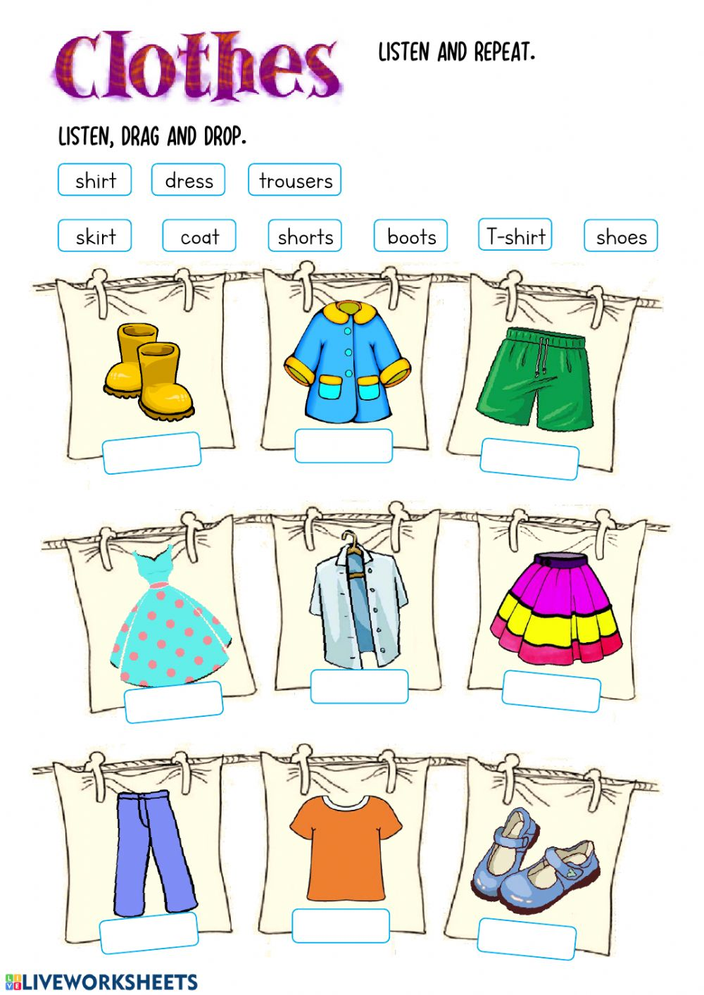 hight resolution of Clothes online worksheet for Grades 1-2