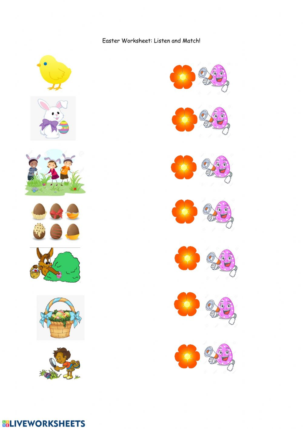 hight resolution of Easter Vocabulary exercise for Grade 1