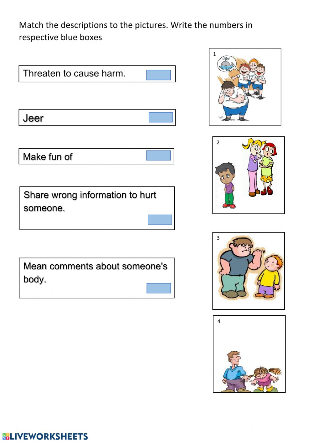 hight resolution of Types of Bullying worksheet