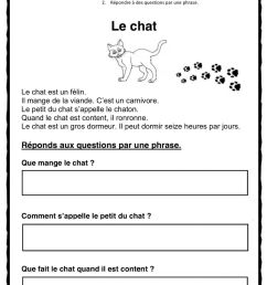 French reading-Francais lecture worksheet [ 1360 x 1000 Pixel ]