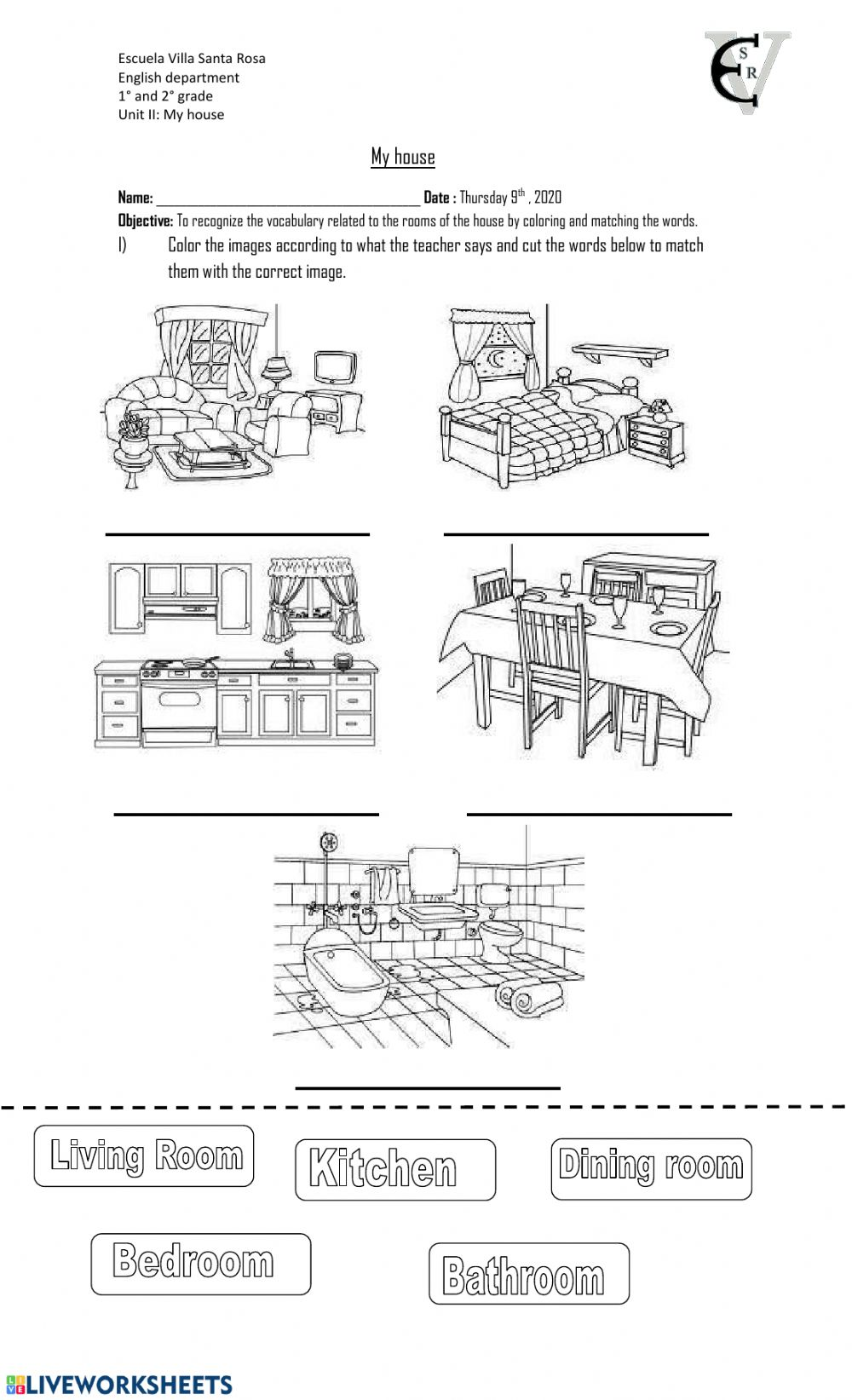 medium resolution of My house online worksheet for 1st and 2nd grade