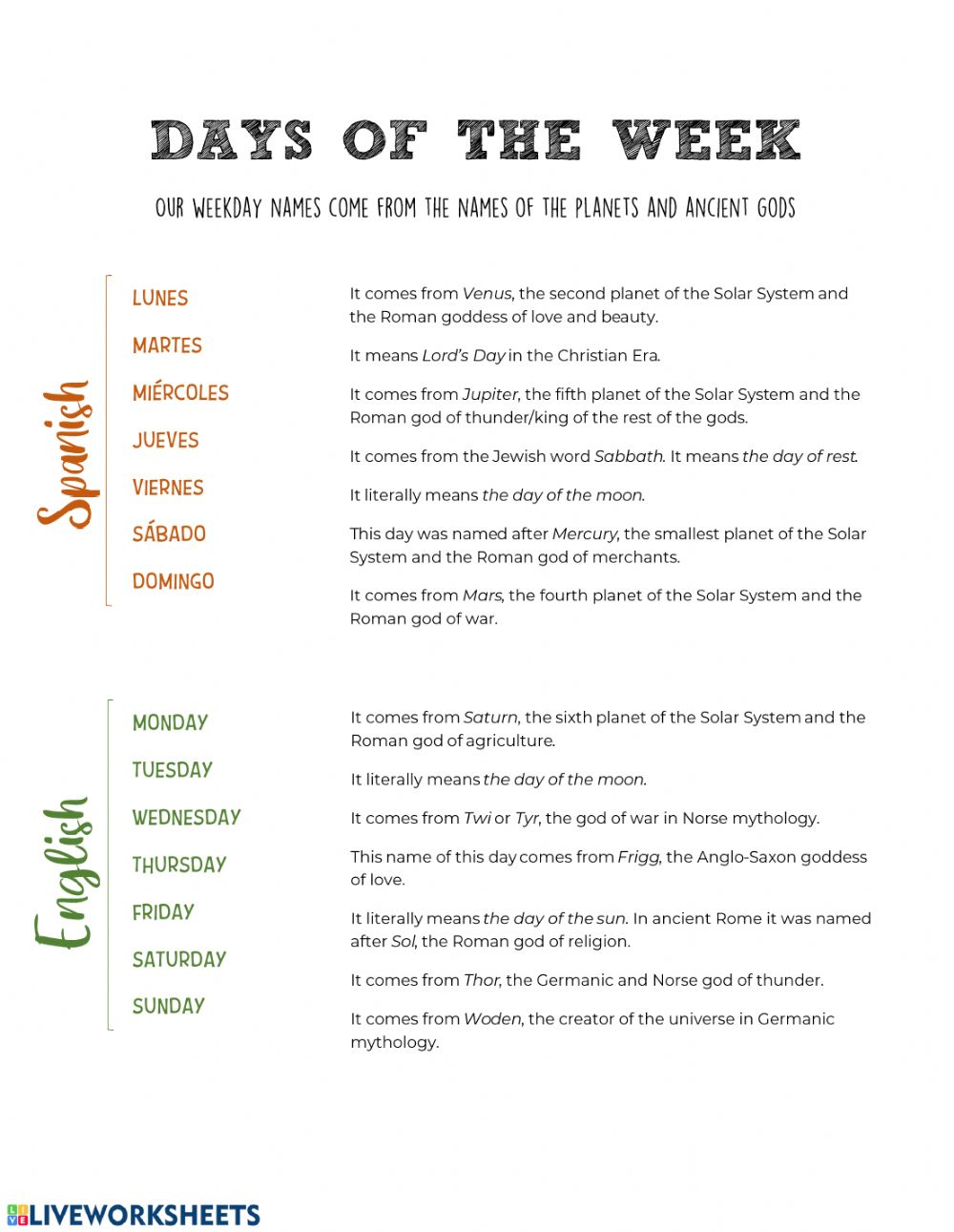 hight resolution of Days of the Week (Spanish \u0026 English) worksheet