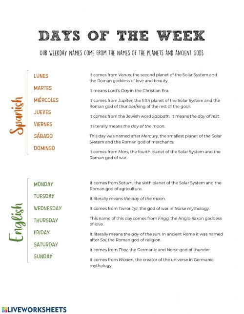 small resolution of Days of the Week (Spanish \u0026 English) worksheet