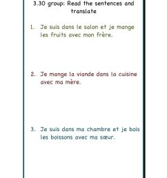 Translate from French worksheet [ 1413 x 1000 Pixel ]
