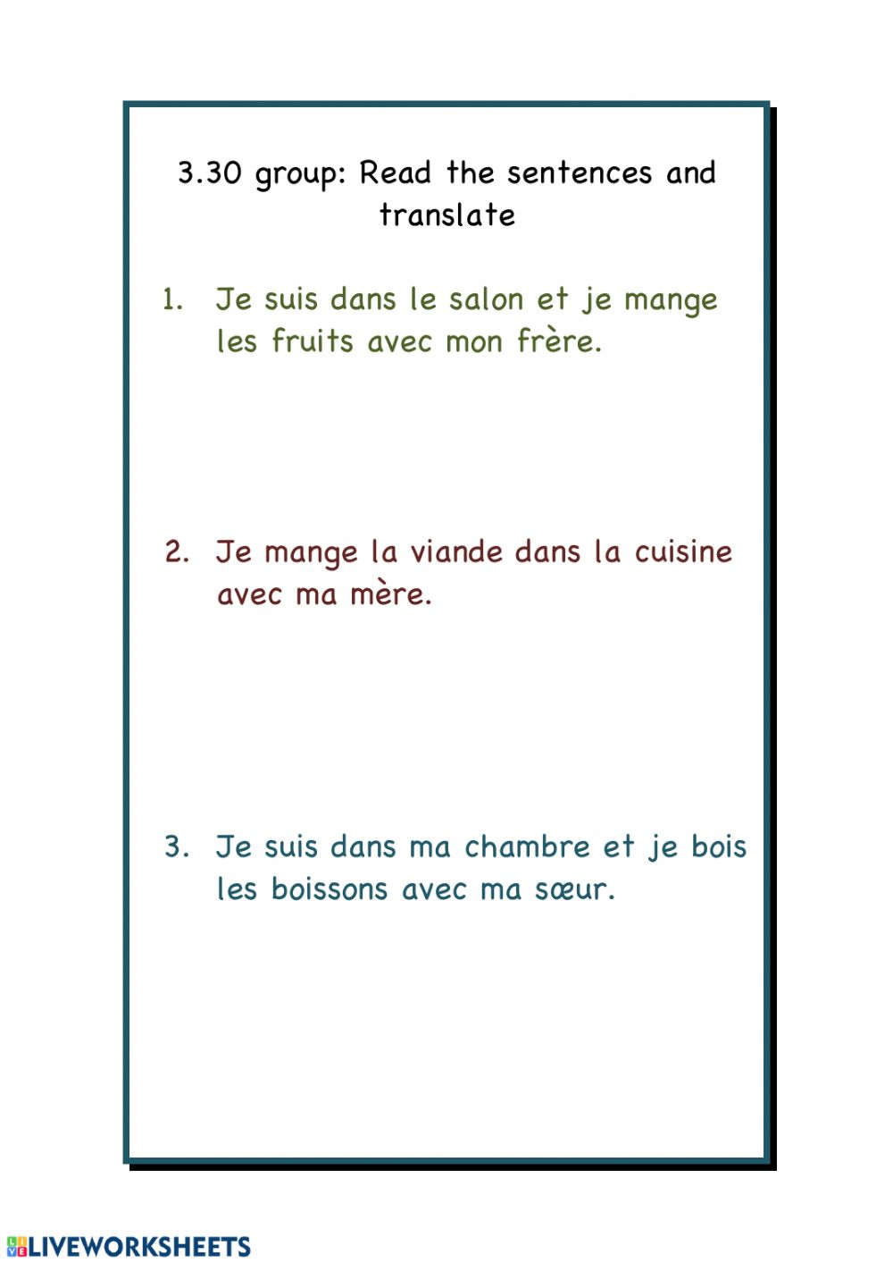 medium resolution of Translate from French worksheet