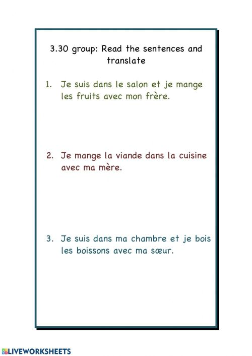 small resolution of Translate from French worksheet