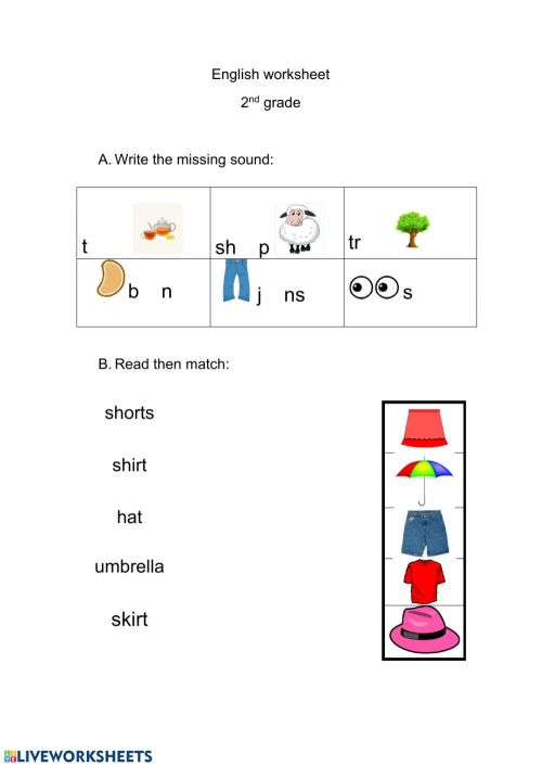small resolution of Clothes interactive worksheet for grade 1