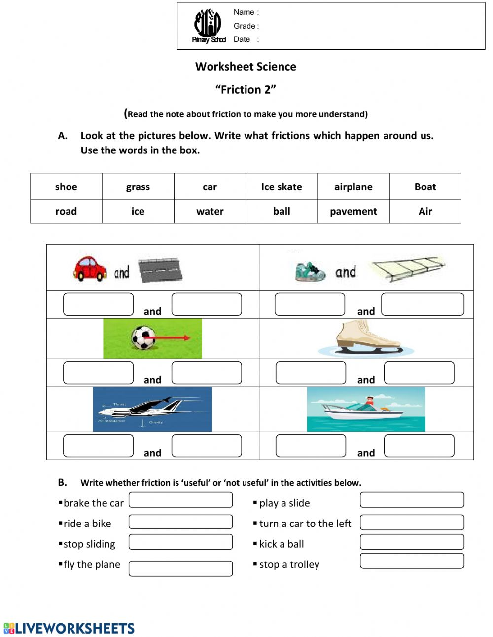 medium resolution of Worksheet friction2 worksheet