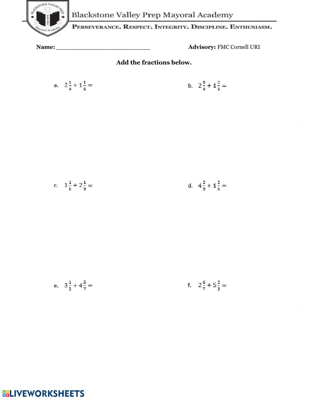 hight resolution of Adding - Subtracting Fractions with Mixed Numbers worksheet